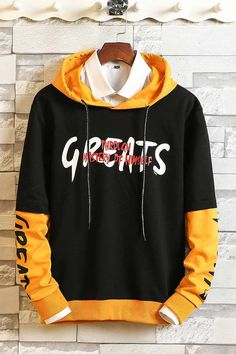 Men's long sleeve pull over letter print on front and sleeve, mix color. Clothing Hacks, Mens Clothing Styles, Gothic Fashion Men, Black Hoodie Outfit, Stylish Hoodies, Hooded Sweatshirts, Boys Hoodies, Burberry Men, Gucci Men