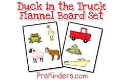 A printable flannel board or story board set for the book, Duck in the Truck, by Jez Alborough. Great for retelling a story with Pre-K, Preschool, and Kindergarten. Flannel Board Stories, Felt Board Stories, Felt Stories, Flannel Boards, Stories For Kids, Preschool Literacy, Classroom Activities, Book Activities, Transportation Unit
