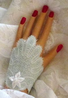 Machine Embroidered Lined Lace Fingerless by joyspecialties, $25.95