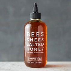 Handmade in Brooklyn by Bee's Knees, this salted honey is perfect when paired with soft goat cheese, freshly buttered toast, or a warm fruit cob Salt And Honey, Brooklyn, Fruit Cobbler, Cocktail Mixers, Presents For Boyfriend, Bees Knees, Freshly Baked, Bottle Design, Serveware