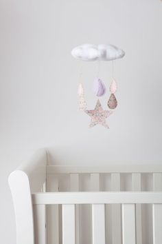 Willa and Bobbin Liberty print bird mobiles. Gorgeous homeware for kids rooms and interiors
