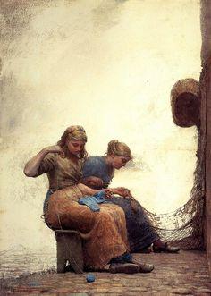 Winslow Homer (American 1836–1910) [Realism, Landscape, Marine] Mending the Nets, 1881.