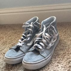 35b47df7a6 Shop Women s Vans Gray size 8 Sneakers at a discounted price at Poshmark.  Description  Cute high top vans in very good condition light grey only worn  once ...