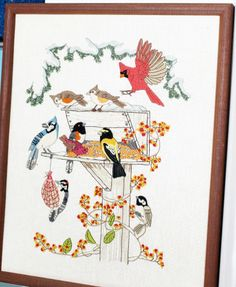 Crewel Embroidery Finished Vintage Framed Birds Feeding 20x16 1981 Linda Powell