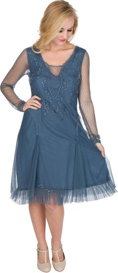 Serenity Vintage Style Party Dress in Sapphire by Nataya $178.00 AT vintagedancer.com