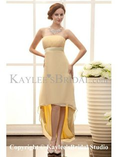 Satin and Chiffon Strapless Asymmetrical Column Line Bridesmaid Dress with Waistband