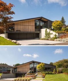 At the front of this home, the landscaping was carefully designed to work with the design of the house that includes charcoal grey brick and aluminum windows, as well as cedar siding and ceilings.