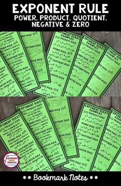 Exponent Rules Bookmark Notes - Power, Product, Quotient, Zero and Negative Fun Math, Math Math, Maths, Math Classroom, Future Classroom, Classroom Ideas, Math Word Walls, Writing Curriculum, Math Notes