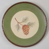 Park Designs Pine Lodge Dinner Plate, Fine China Dinnerware - Pinecone,Green Band,Brown Textured Edge
