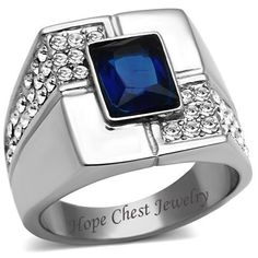 Stainless Steel Rectangular Blue Sapphire Cubic Zirconia Men's Ring - SIZE 8-13 $14.17 with free shipping.