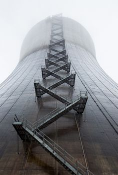 Stairway up a cooling tower at the famously unfinished and never operational Satsop Nuclear Power Plant, Washington State, USA. Detail Architecture, Industrial Architecture, Cooling Tower, Nuclear Power, Industrial Photography, Stairway To Heaven, Interior Exterior, Stairways, Abandoned