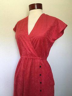 1970s vintage red dress cap sleeve 70s red midi dress retro