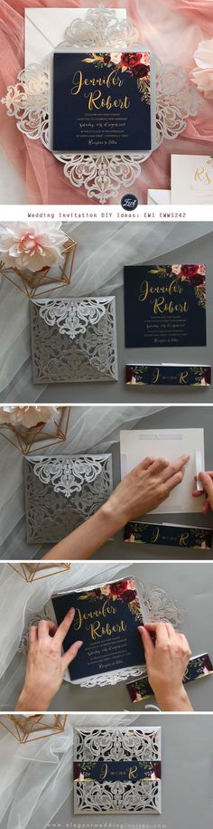 Chic Bouquets-silver laser cut fold with navy blue and burgundy floral with printed belly Band wedding invitation DIY ideas EWWS242