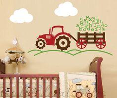 Alphabet Tractor Farm Boys ABC Kids Vinyl Wall Decal Sticker