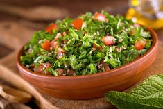 Cucumber and parsley are an exciting addition to this famous Middle Eastern salad of plumped bulgur (it doesn't require any cooking, just soaking in boiling water) and Parsley Salad, Natural Yogurt, Lebanese Recipes, Healthy Pumpkin, Tahini, Healthy Salads, Seaweed Salad, Fresh Herbs, Food Fresh