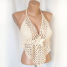Beige bikini top , Open bask sexy halter top , Festival crochet bikini top , Crochet crop top on Etsy, $47.26 AUD