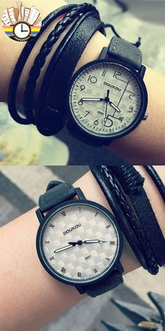 Retro Unique Personality Dial Leather Wrist watch for big sale! #watch #unique #wrist #cute #gift