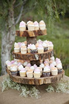 rustic chic wedding. custom cupcake stands. baby's breath. burlap. #christinwilsonevents // Cory Kendra Photography