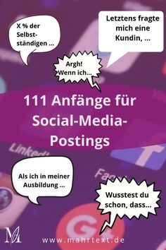111 possible beginnings for social media posts - Sonja Mahr copywriter - First sentence, heaviest sentence? To help you get into writing faster, I have put together 111 beg - Inbound Marketing, Marketing Trends, Affiliate Marketing, Marketing Pdf, Social Media Marketing Business, Internet Marketing, Marketing And Advertising, Like Facebook, Facebook Business