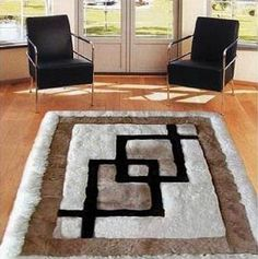 "Area Rug. Alpaca Fur 52"" X 71"". Rectangle. ""Chain"" Design. Soft Fur Rug…"