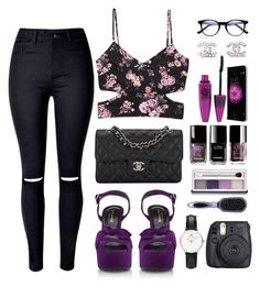 """""""PURPLE"""" by maryanacoolstyles ❤ liked on Polyvore featuring Chanel, Clinique, Forever 21, Fuji, Yves Saint Laurent, WithChic, Daniel Wellington and Maybelline"""