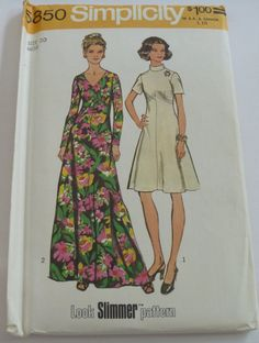 I have this one! UNCUT Simplicity Pattern 5850 Misses Dress in Two Lengths Size 20  Bust 42 Waist 34 Look Slimmer Pattern Vintage 1970s