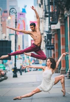 Dancers against city backdrops by Omar Robles (NYC)