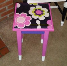 Decoupage girls side table made with an old kids dress and Mod Podge Find out how  ontheupcycle.com