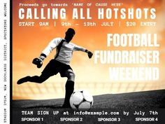 A bright Football post template for a fundraiser event with a bright orange background. Fundraiser Event, Fundraising Events, I 9, Orange Background, Motivational Quotes, Names, Football, Bright, Posts