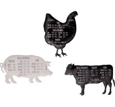 Animal Magnets | Meat Temperature Guide | Farm Animal Kitchen Decor