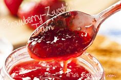 """MYO Strawberry Zucchini Jam-  a wonderful concoction which utilizes that bumper crop of zucchini! This """"mock"""" strawberry jam does contain fruit- but it also gives a delicious serving of veggies, shhhhhh.... don't tell anyone, they'll NEVER know! (Click on photo for recipe)"""