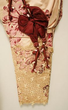 Circa 1895 sleeve detail on a House of Worth silk and linen dress, French.