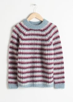 29dacd30c1c Front image of Stories striped chunky knit sweater in turquoise Lang  Cardigan, Minikjoler, Strik