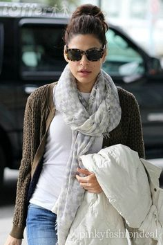 a8427138a9 I LOVE this scarf! Louis Vuitton Damier Azur Stole as modeled by Eva Mendes