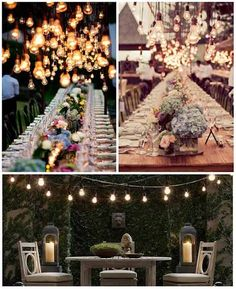 Create a dazzling starry sky above by dangling clear or white lights from patio strings with suspended sockets. This look is amazing for bridal showers or fancy dinners under the skies.