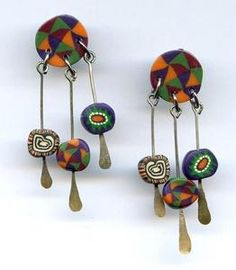 Vtg Fimo Clay Millefiori Handmade Dangle Charm Ethnic Style Pierced Earrings  $14.95