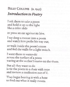 a literary analysis of a free verse poem in sonnet by billy collins Setting #2: morning by billy collins p903 this beginning of this poem is centered on the setting of morning in a persons house the speaker is anounymous but gives a funny tone to the poem with their opinions towards each time of day, why do we bother with the rest of the day, the swale of the afternoon, the sudden dip into evening, then.