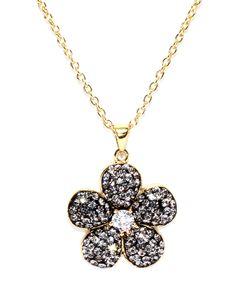 Black Diamond Crystal Cubic Zirconia Accent Flower Necklace
