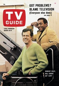 """TV Guide: March 25, 1967 - Robert Culp and Bill Cosby of """"I Spy"""""""