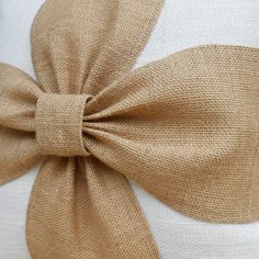 Burlap bow pillow cover in off white and natural burlap 18x18