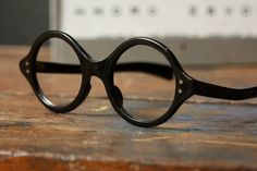 Vintage Eye Glasses - Black Round - Frame France