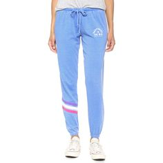 Spiritual Gangster Happiness Is The Way Burnout Sweatpants ($55) ❤ liked on Polyvore featuring activewear, activewear pants, logo sportswear, striped sweatpants, blue sweatpants, sweat pants and striped sweat pants