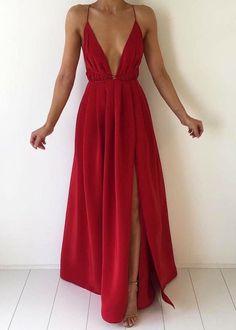 Red maxi dress.