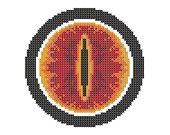 Eye of Saron lord of the rings cross stitch