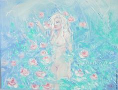 Olkhovaya Yuliya картины девушек, искусство, купить картину, цветы, обнаженные, розы, бирюзовый, девушка, женщины, sun,colors, art, picturesgirls, painting, summer, flowers,  beautiful, girls, nude, rose, tender, love, followme, nature