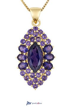 Stratify 3.51ctw Marquise,Oval & Round African Amethyst 18k Gold Over Silver Pendant With Chain