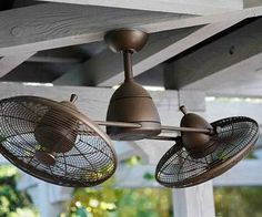 outdoor fan :: love my porch ceiling fan, but this is really cool! Also thinking it would be great to have a ceiling fan for my back porch area. Enclosed Porches, Decks And Porches, Screened In Porch, Porch Roof, Front Porches, Front Porch Pergola, Corner Pergola, Outdoor Rooms, Outdoor Living
