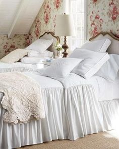 Cottage bedroom--love the throw!