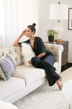Actress Shay Mitchell and Decorist Elite Designer Stefani Stein chose The Shade Store's Ripple Fold Drapery in Linen Blend for Shay's chic office makeover. Shay Mitchell, Interior Architecture, Interior Design, Eclectic Design, Guest Room Office, Office Decor, Custom Drapes, Hollywood, Office Makeover