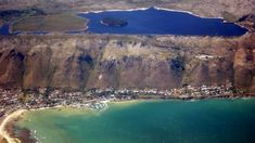 Aerial view of Steenbras Dam and Gordon's Bay - Cape Town. (photo by Maria Wagener) Cape Town South Africa, Table Mountain, Coastal Homes, Holiday Destinations, Aerial View, Bay Area, City, African, House Improvements